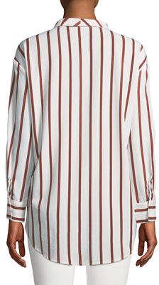 P. Luca Faux-Wrap Long-Sleeve Striped High-Low Blouse