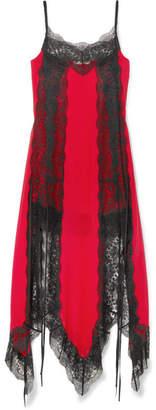 Christopher Kane Lace-trimmed Silk-chiffon Dress - Red