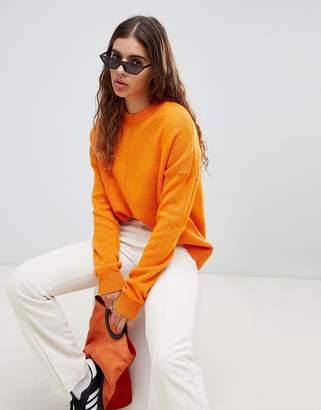 Weekday knit sweater with middle seam detail in orange melange