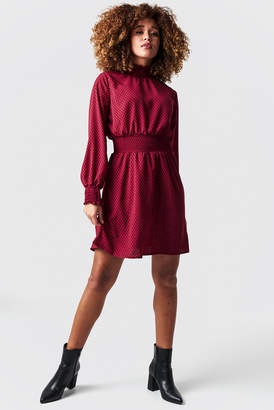 Trendyol Dotted Midi Waist Detail Dress Red