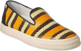 Giuseppe Zanotti Snakeskin-Embossed Leather Slip-On Sneaker