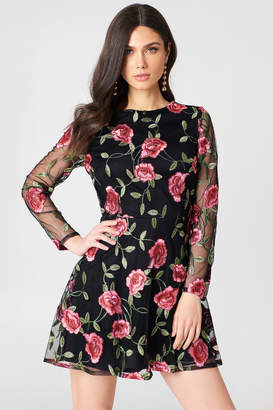 boohoo Embroidered Long Sleeve Dress