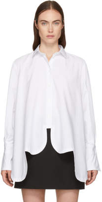 Valentino White Asymmetric Scalloped Shirt