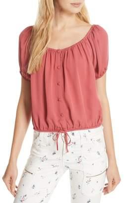 Joie Blesina Tie Front Short Sleeve Silk Blouse