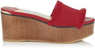 Jimmy Choo DEEDEE 80 Red Frayed Cotton and Wooden Wedge Sandal