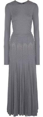 Derek Lam Pleated Studded Wool And Cashmere-Blend Gown