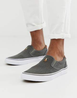 Polo Ralph Lauren thompson canvas plimsoll with multi player in washed black