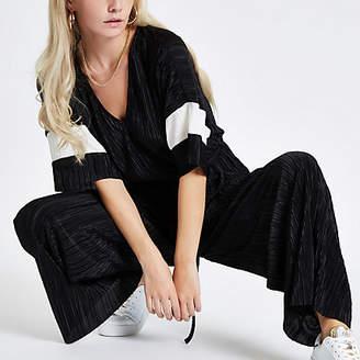 River Island Petite black plisse kimono sleeve jumpsuit