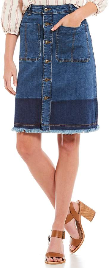 A Loves A Button Front Frayed Hem A-Line Denim Skirt