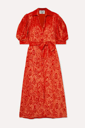 Evi Grintela Dominique Belted Velvet-jacquard Maxi Dress - Red