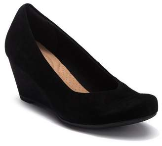 Clarks Flores Tulip Suede Wedge Pump - Wide Width Available