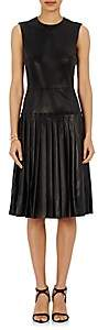 Barneys New York Women's Lambskin Drop-Waist Dress - Black