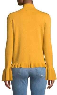 Neiman Marcus Mock-Neck Flounce-Trim Sweater