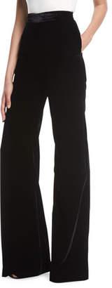 Brandon Maxwell High-Waist Wide-Leg Velvet Pants