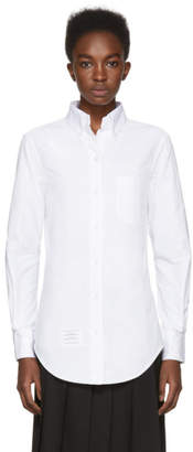 Thom Browne White Classic Button-Down Point Collar Shirt