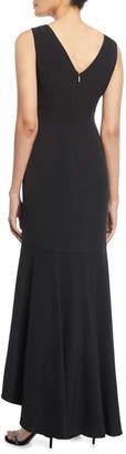 Karl Lagerfeld Paris High-Low Sleeveless V-Neck Gown