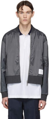 Thom Browne Grey Ripstop Bomber Jacket