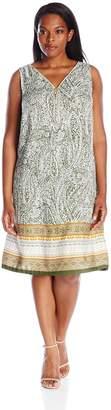 MSK Women's Plus-Size Sleeveless Zipper Front Placement Print Dress