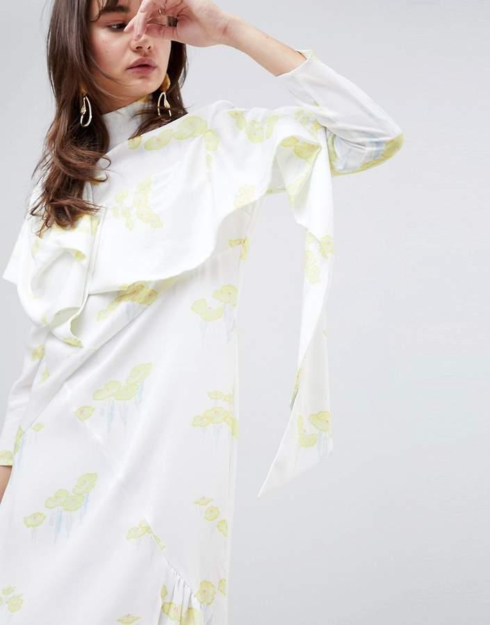 – Schräg geschnittenes Kleid mit Seerosenblatt-Design