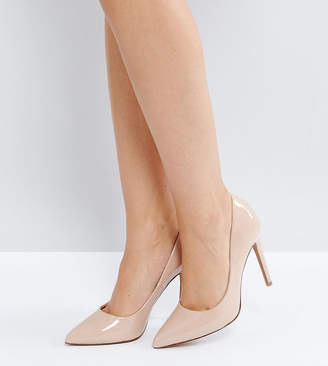 7e8288006c Asos Design DESIGN Wide Fit Paris pointed high heeled court shoes in almond