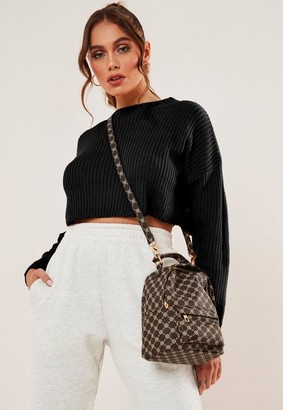 Missguided Black Super Cropped Basic Knit Sweater