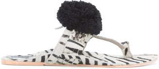 Figue Zebra Haircalf Leo Pom Pom sandals