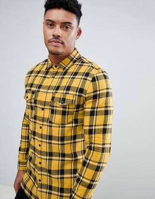 Good For Nothing muscle shirt in yellow check