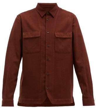Altea Houndstooth Check Wool Blend Shirt - Mens - Orange