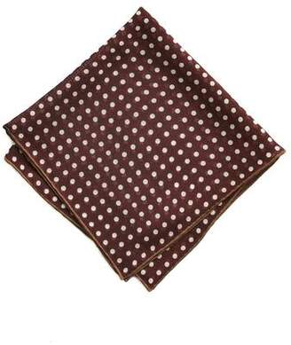 Drakes Drake's DRAKE'S Burgundy/BROWN SPOT PRINTED POCKET SQUARE