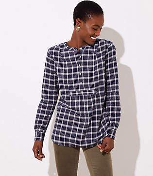 LOFT Plaid Bib Tunic Blouse