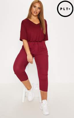 PrettyLittleThing Plus Burgundy Casual Trousers