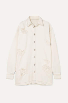 Unravel Project - Oversized Distressed Denim Shirt - White