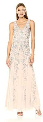 Adrianna Papell Women's Sleevless V Neck Fully Beaded Long Gown,4