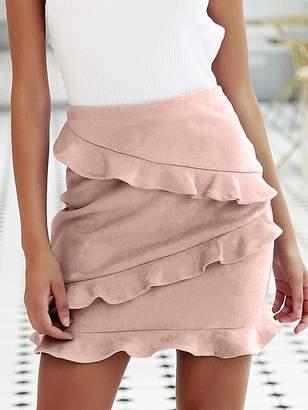 Shein Simplee Zip Back Layered Ruffle Suede Skirt