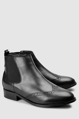 Next Womens Black Forever Comfort Brogue Detail Chelsea Boots