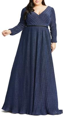 Mac Duggal Empire Waist Long Sleeve Gown