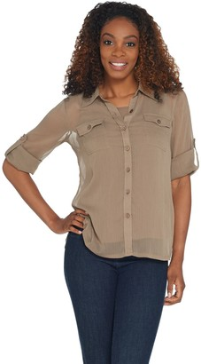Linea By Louis Dell'olio by Louis Dell'Olio Crinkle Georgette Shirt w/ Shell