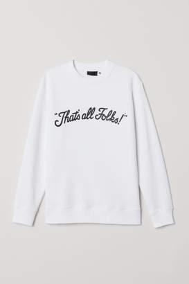 H&M Sweatshirt with Printed Design - White