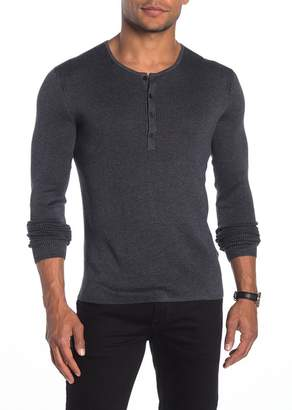 John Varvatos Collection Slim Fit Ribbed Henley T-Shirt