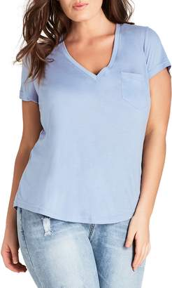 City Chic V-Neck Pocket Tee