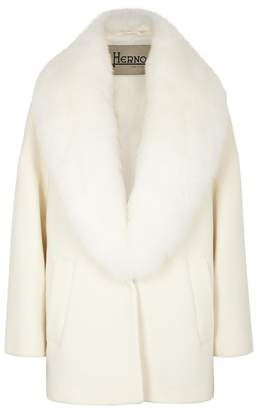 Herno Off-white Fur-trimmed Wool