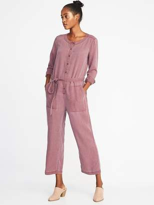 Old Navy Faded-Twill Tie-Belt Utility Jumpsuit for Women