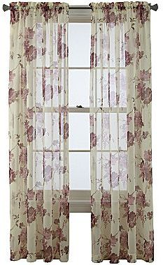"JCPenney Queen Street Imperial Garden Rod-Pocket 84"" Sheer Curtain Panel"