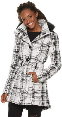 Iz Byer Juniors' Faux-Wool Plaid Hooded Jacket