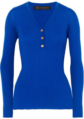 Versace Ribbed Wool Top - Indigo