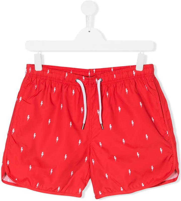 Neil Barrett Kids lightning bolt print swim shorts