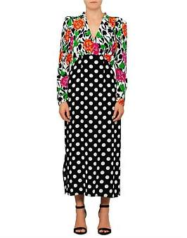 Rixo London Gretal Long Sleeve Spot Floral Chain Dress