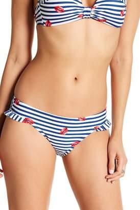 Betsey Johnson Striped Ruffle Trimmed Hipster Bikini Bottom