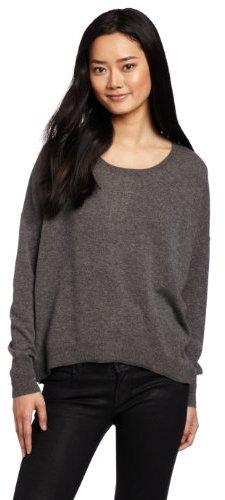 Autumn Cashmere Women's High/Low Zip Back Crew Sweater