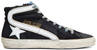Golden Goose Navy Slide High-Top Sneakers